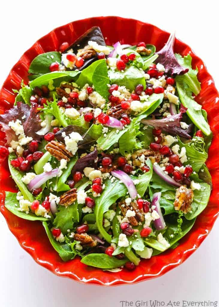 Pomegranate Feta Salad - this quick and easy salad is topped with a zesty vinaigrette! the-girl-who-ate-everything.com