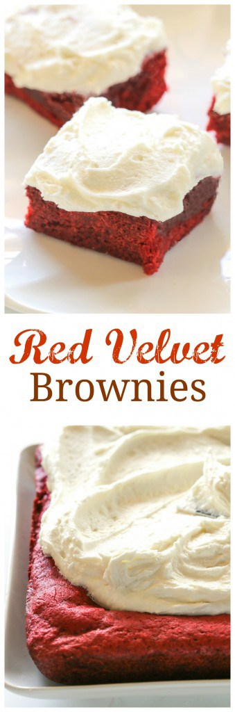 Red Velvet Brownies with White Chocolate Frosting - they're as pretty as they are tasty! #red #velvet #brownies #dessert