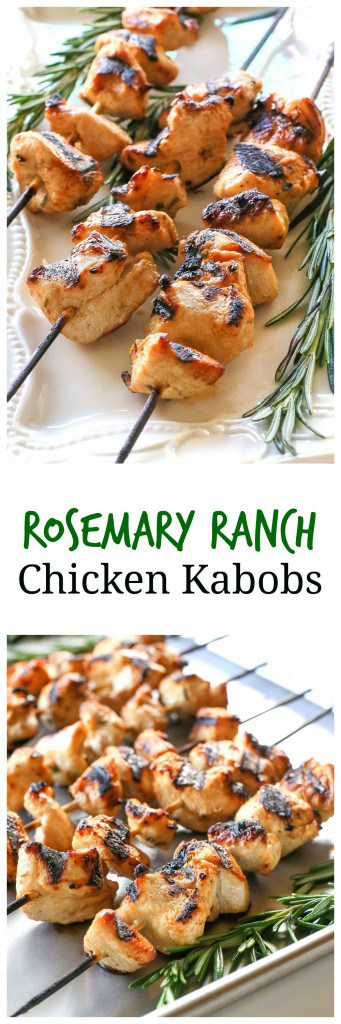 Rosemary Ranch Chicken Kabobs - light, easy, and delicious! #chicken #grilled #dinner #recipe