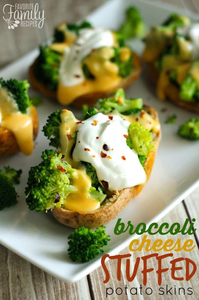 Broccoli Cheese Stuffed Potato Skins - Favorite Family Recipes