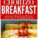 These Chorizo Breakfast Enchiladas are filled with eggs, chorizo, hash browns and topped with bacon! the-girl-who-ate-everything.com