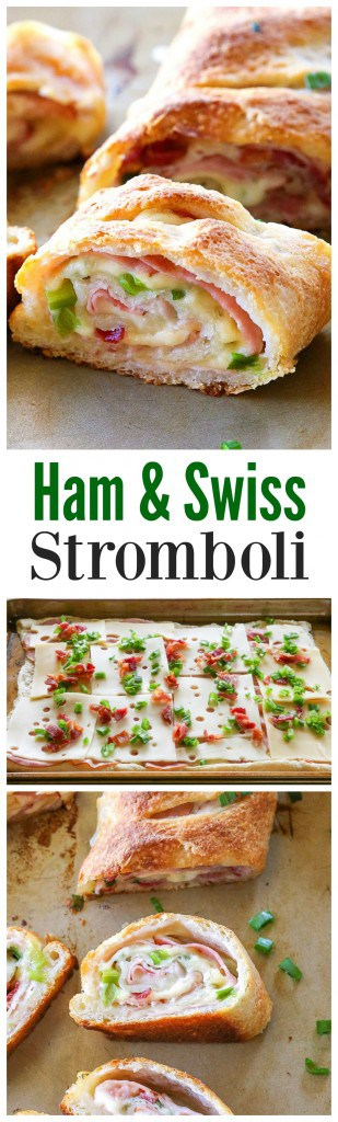 Ham and Swiss Stromboli - I love this easy weeknight dinner done in under 20 minutes! #ham #stromboli #easy #dinner