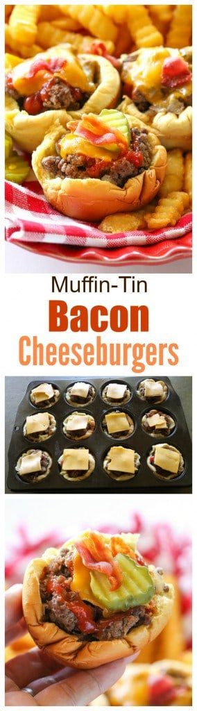 Muffin-Tin Bacon Cheeseburgers - no drive through needed to eat these delicious handheld burgers. #beef #bacon #cheeseburgers #dinner