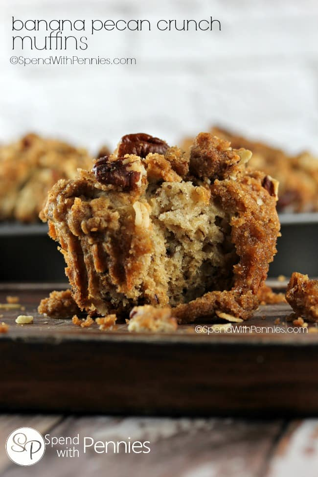 banana pecan crunch muffins-spend with pennies
