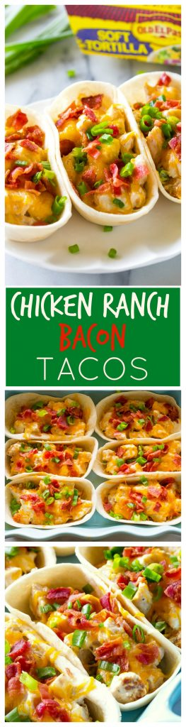 Chicken Ranch Bacon Taco Boats - everyone in the family will love these tacos for dinner! #chicken #ranch #bacon #dinner #tacos #recipe #mexican