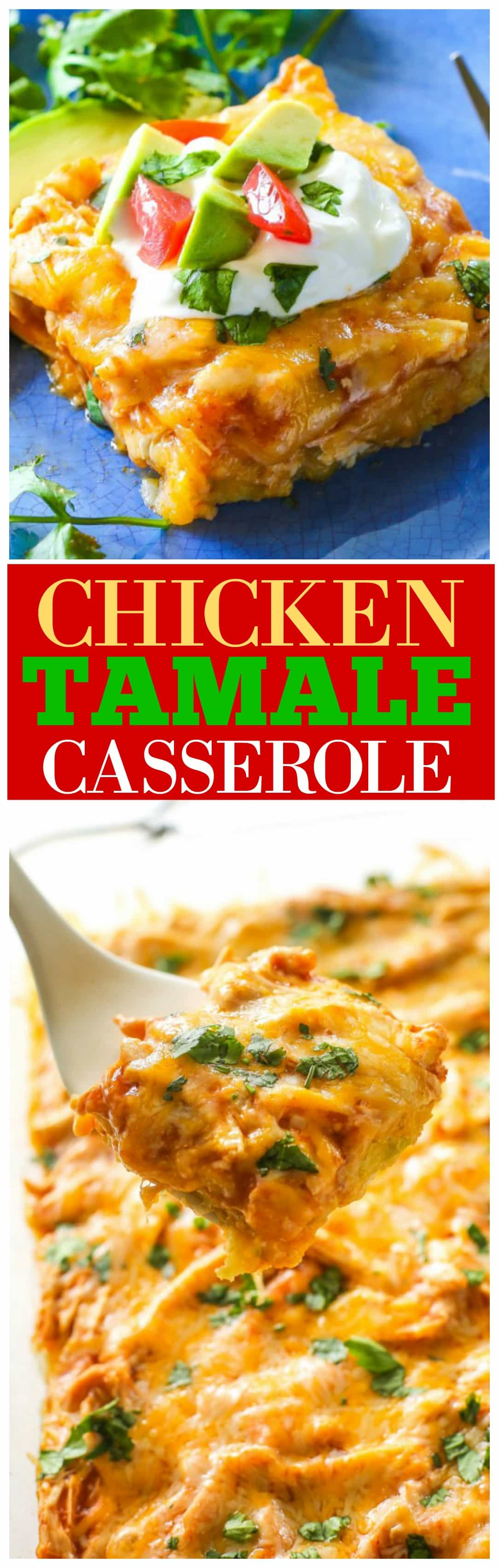 Chicken Tamale Casserole - a sweet cornbread crust topped with enchilada sauce and chicken. This is a crowd pleaser! #chicken #tamale #casserole #recipe #dinner
