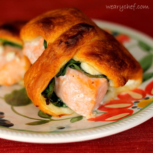salmon crescent rolls with feta -weary chef