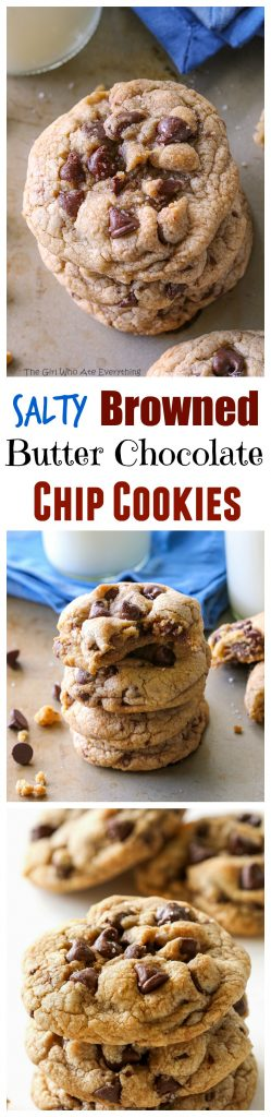 These Salty Browned Butter Chocolate Chip Cookies are your classic chocolate chip cookie with a nutty browned butter flavor and little specs of sea salt throughout. #chocolate #chip #cookies #brownedbutter #recipe