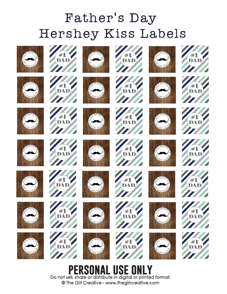 Father's Day - Hershey Kiss Labels - Full Sheet