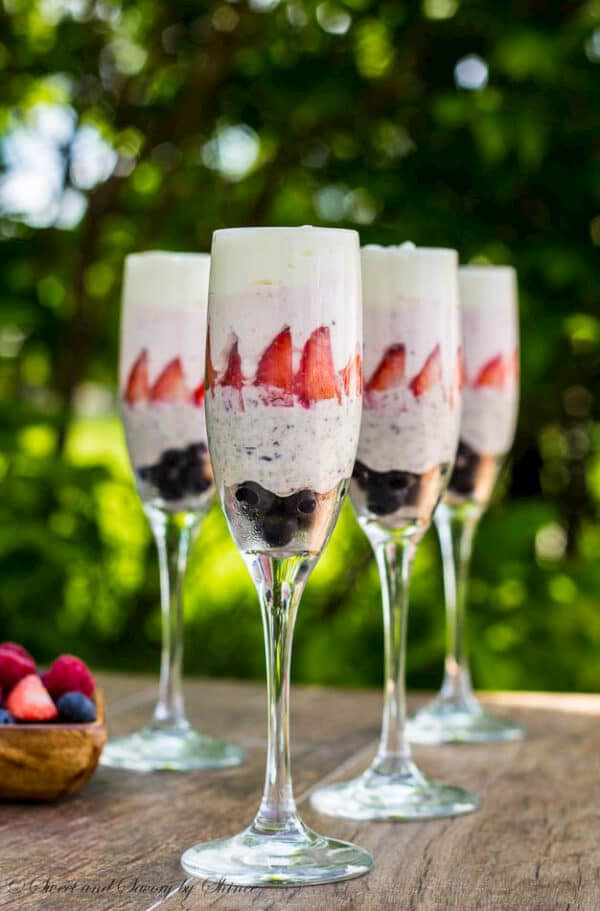 Red, Blue and White Chocolate Mousse - Sweet and Savory