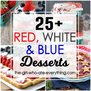 A delicious assortment of red, white and blue desserts perfect for a Memorial Day and 4th of July get together.