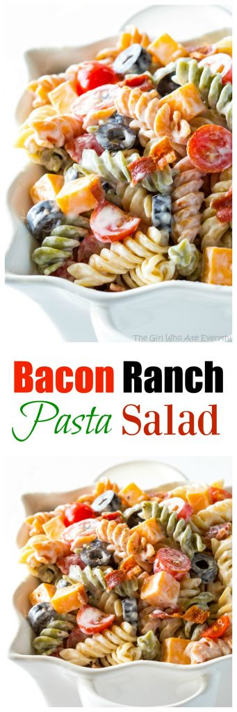 Bacon Ranch Pasta Salad - flavorful pasta salad with cheddar cheese, olives, tomatoes, and bacon. Covered in a creamy ranch sauce. the-girl-who-ate-everything.com