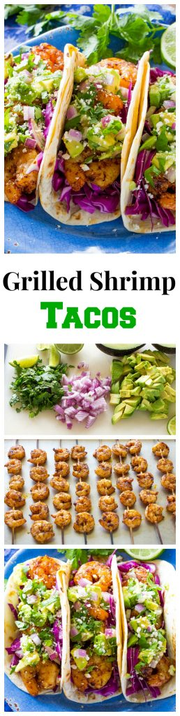 These Grilled Shrimp Tacos with Avocado Salsa are light and refreshing! #shrimp #tacos #mexican #healthy #dinner