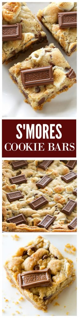 S'mores Cookie Bars - chocolate chip marshmallow cookie dough with a graham cracker crust. Seriously delicious. #smores #cookie #bars #recipe #dessert