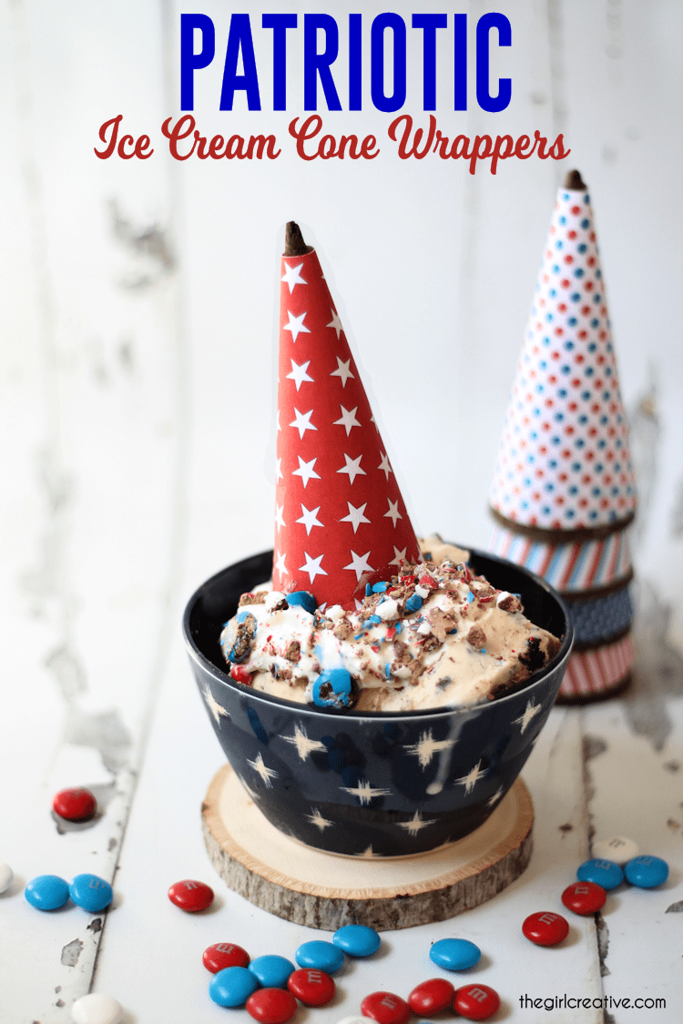 Free Printable Patriotic Ice Cream Cone Wrappers for 4th of July or Memorial Day.