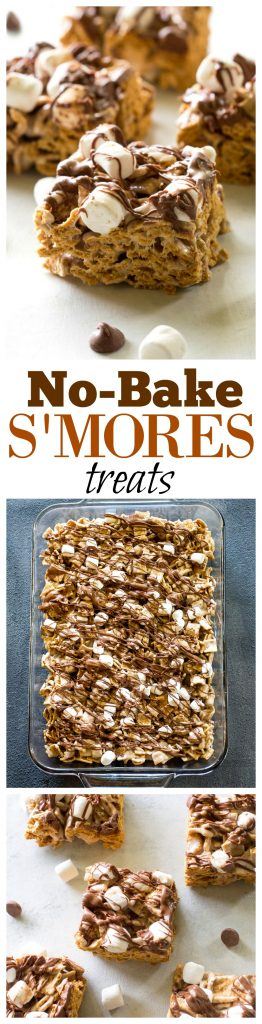 No-Bake S'mores Treats - only 4 ingredients and taste just like S'mores. #smores #nobake #treats #chocolate #recipe
