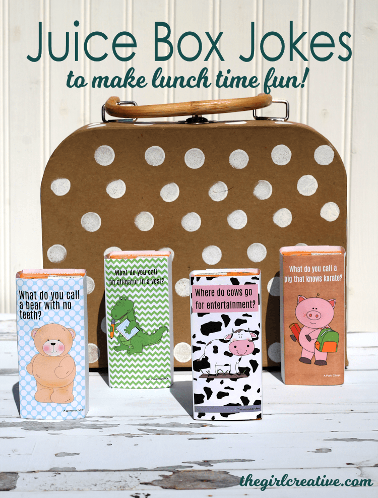 Juice Box Jokes to make lunch time fun! Free printable juice box labels for school lunches