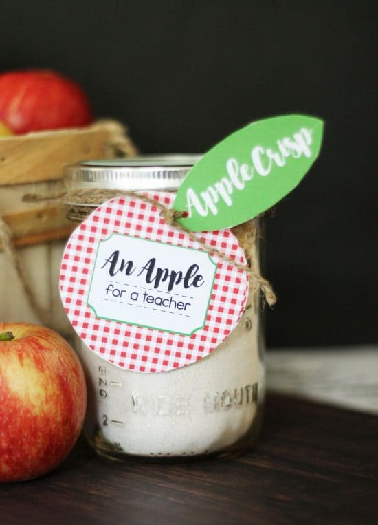 Apple Crisp Teacher Gift idea is great for back to school or teacher appreciation. You can never go wrong with an apple for a teacher.