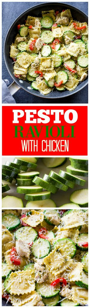 Pesto Ravioli with Chicken - a dinner ready in less than 25 minutes. Packed with flavor! #onepan #zucchini #pesto #summer #skillet #recipe #chicken