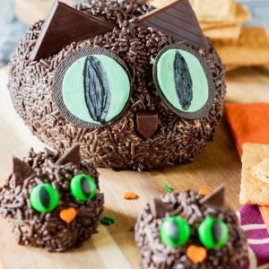 Black Cat S'mores Cheeseball - so cute and perfect for Halloween! the-girl-who-ate-everything.com