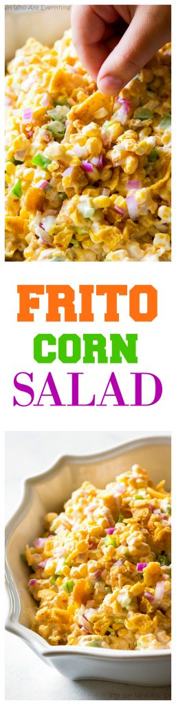 Frito Corn Salad - this is your game day recipe. Corn, Fritos, peppers, and onion. So good! #sidedish #corn #salad #BBQ #potluck