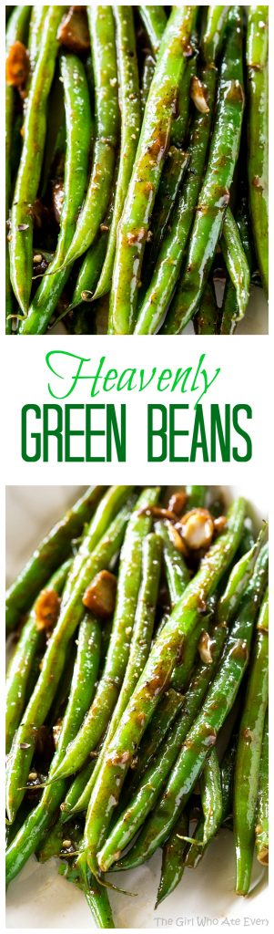 Heavenly Green Beans - this Asian inspired sauce will make you beg for more. #green #beans #sidedish #thanksgiving