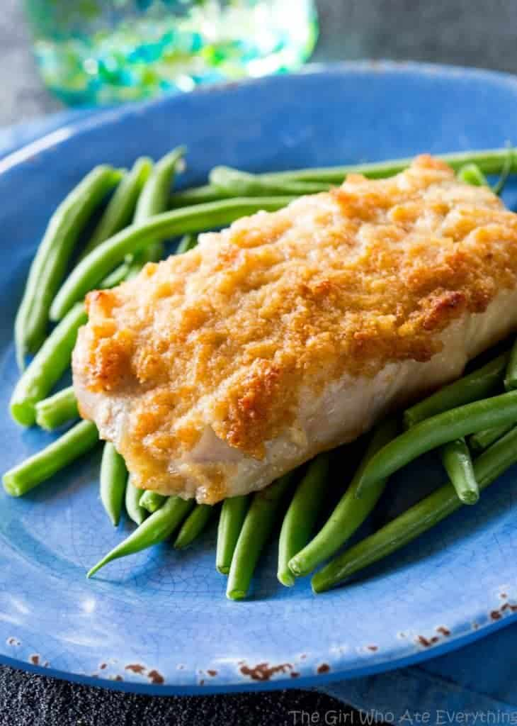 Horseradish Crusted Pork Chops - pork chops topped with a tangy, buttery, breadcrumb topping. the-girl-who-ate-everything.com