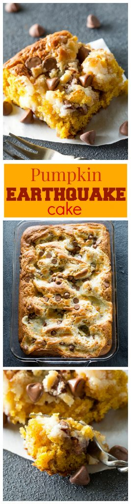Pumpkin Earthquake Cake - a moist pumpkin cake with coconut, pecans, and swirled with a cream cheese mixture. You want to make this for fall! #pumpkin #earthquake #cake #dessert #thanksgiving