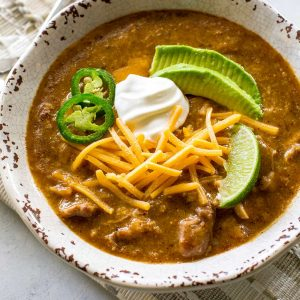 Green Enchilada Pork Chili - warm, spicy, and so good. the-girl-who-ate-everything.com