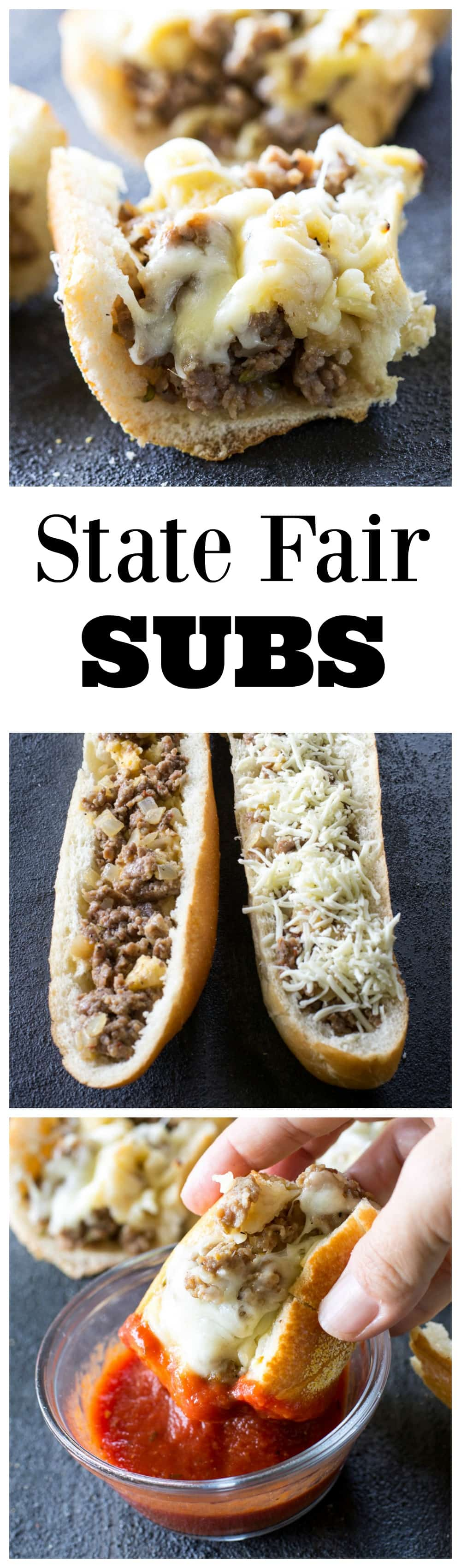 State Fair Subs - sausage and bread cubes tossed together in an egg milk mixture and baked until toasty! #state #fair #subs #recipe