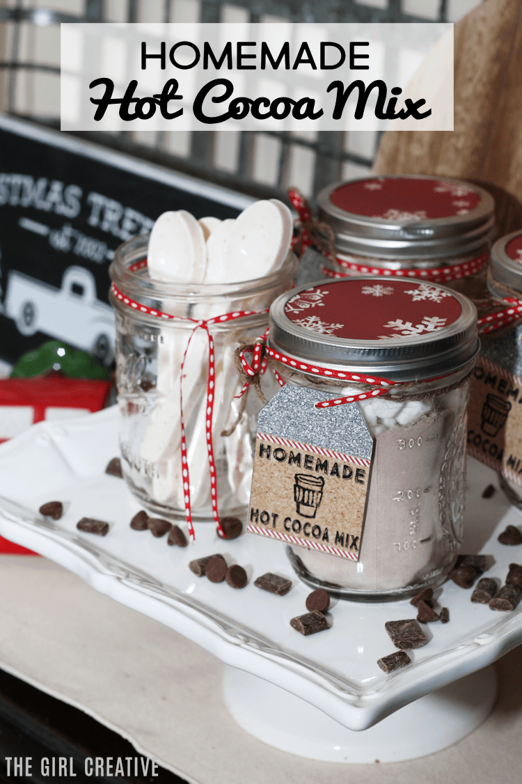 Homemade Hot Cocoa Mix | Free Printable Tags | Mason Jar Gift Ideas