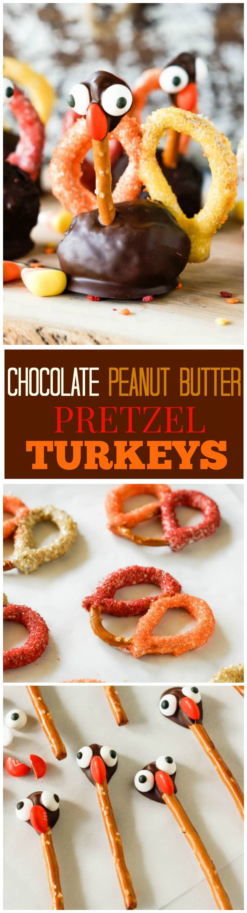 Chocolate Peanut Butter Pretzel Turkeys - a peanut butter ball dipped in chocolate with pretzel feathers! the-girl-who-ate-everything.com