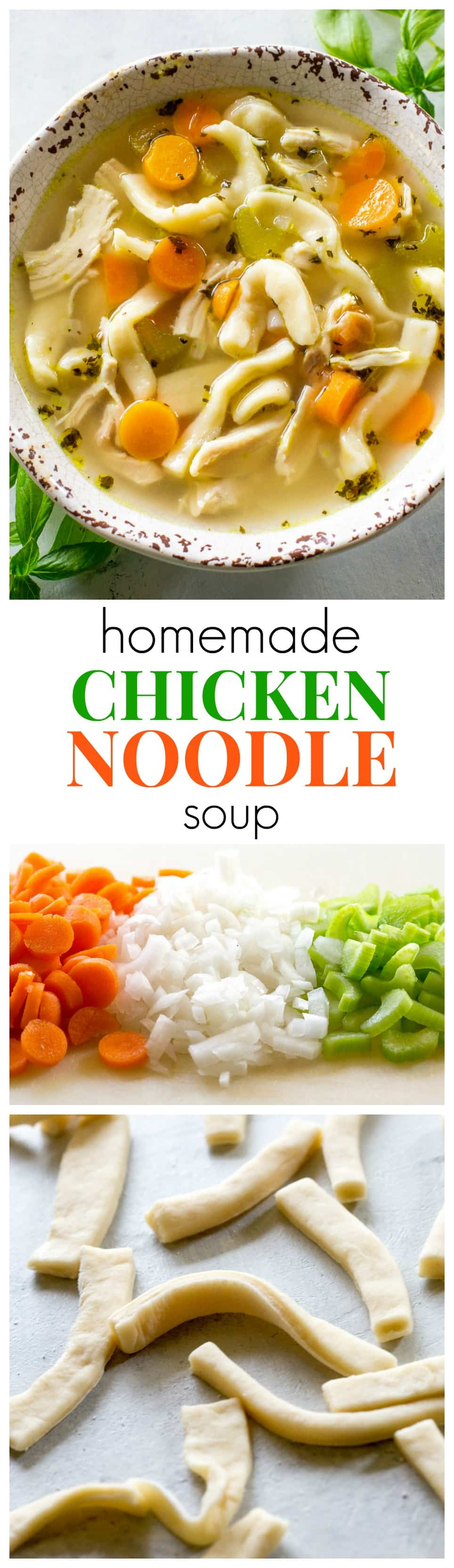 Homemade Chicken Noodle Soup - tried and true comfort food. A recipe for homemade noodles too but you can use store bought as well. #best #easy #homemade #chicken #noodle #soup #recipe #dinner
