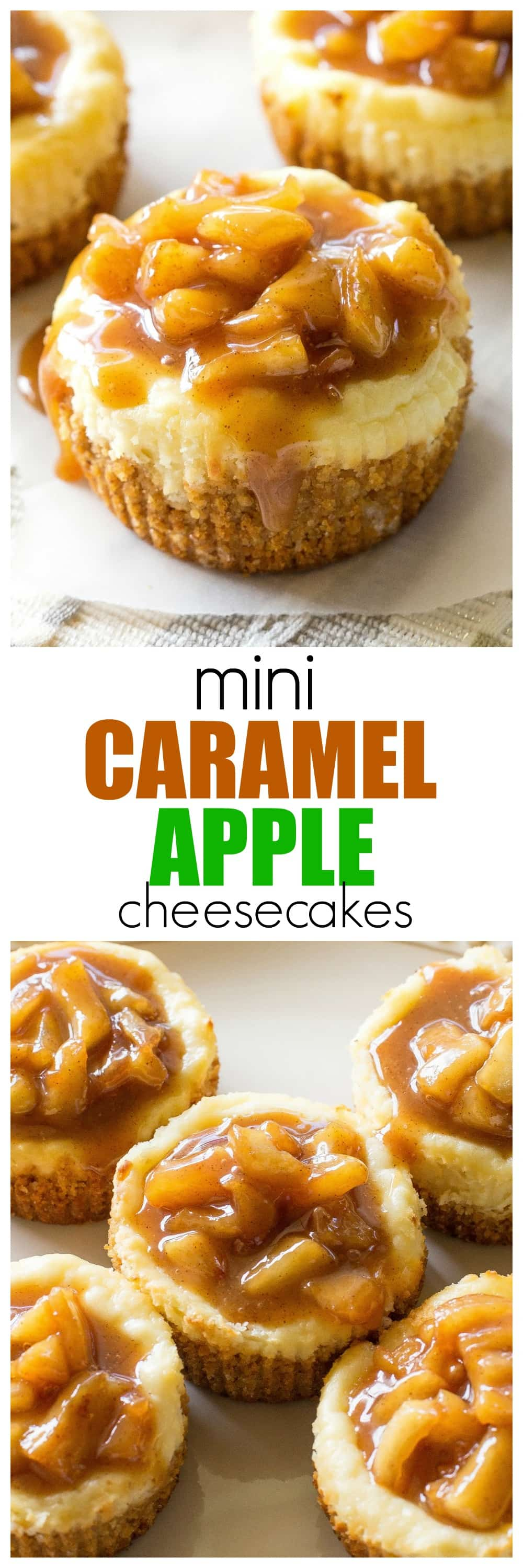 Mini Caramel Apple Cheesecakes - so easy and individually portioned! #caramel #apple #cheesecakes #dessert #recipe