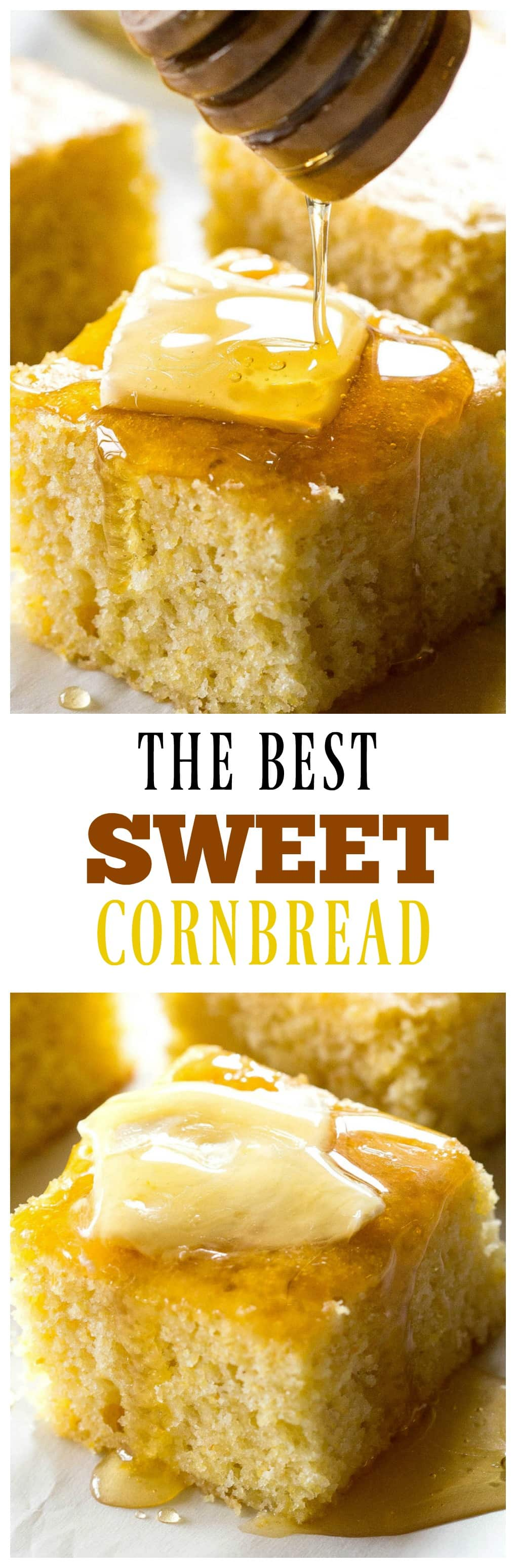 The Best Sweet Cornbread - soft, tender cornbread that's sweet just like I like it. #sweet #cornbread #recipe #easy #chili #side