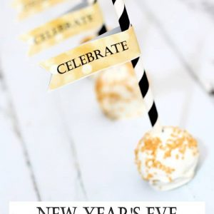 "New Year's Eve Cake Pops are the perfect treat to help you ring in the new year. Complete with printable ""celebrate"" flags that go well on cake pops or drink straws."