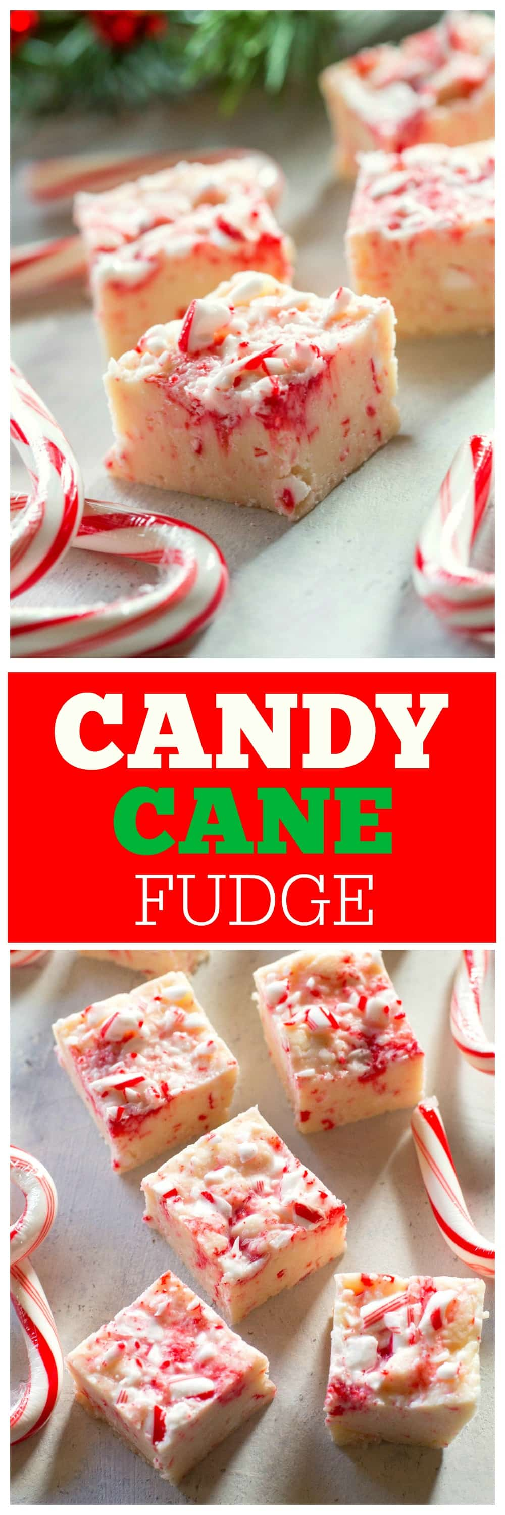 Candy Cane Fudge - only 5 ingredients and so delicious. #candy #cane #fudge #christmas #dessert