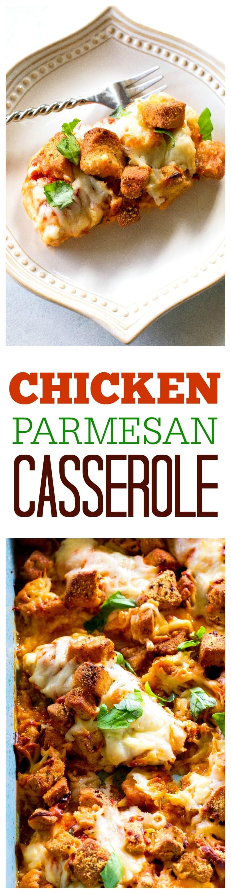 Chicken Parmesan Casserole - no frying this cheesy Parmesan chicken topped with crunchy garlic croutons. #chicken #parmesan #casserole #recipe #italian