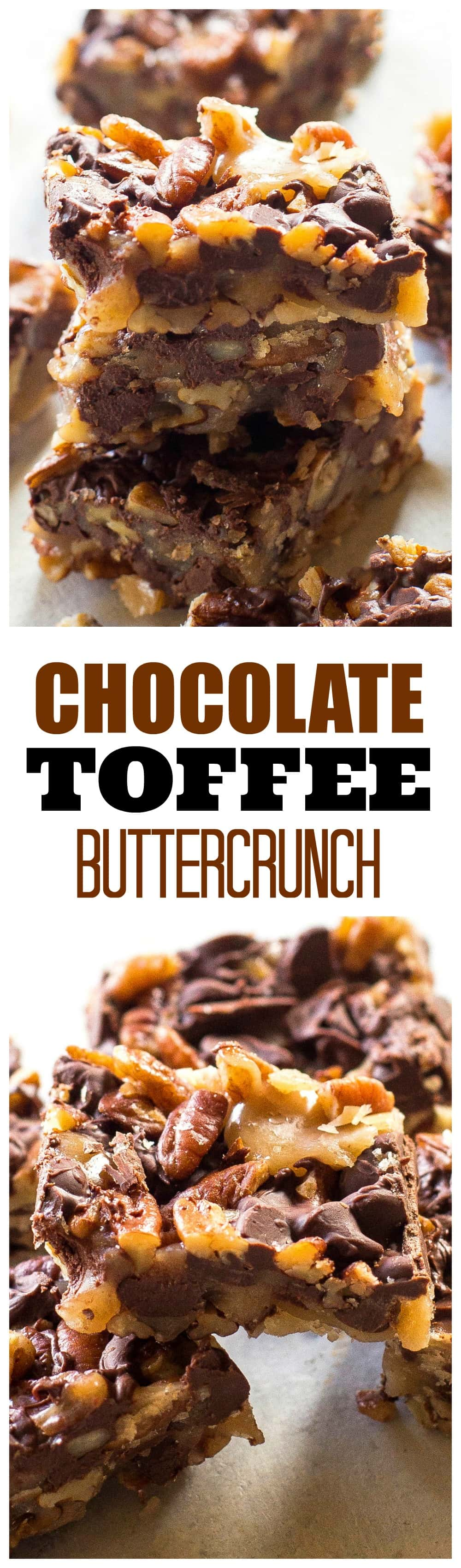 Chocolate Toffee Buttercrunch - toffee, nuts, and chocolate and so easy to make! #chocolate #toffee #buttercrunch #recipe #christmas
