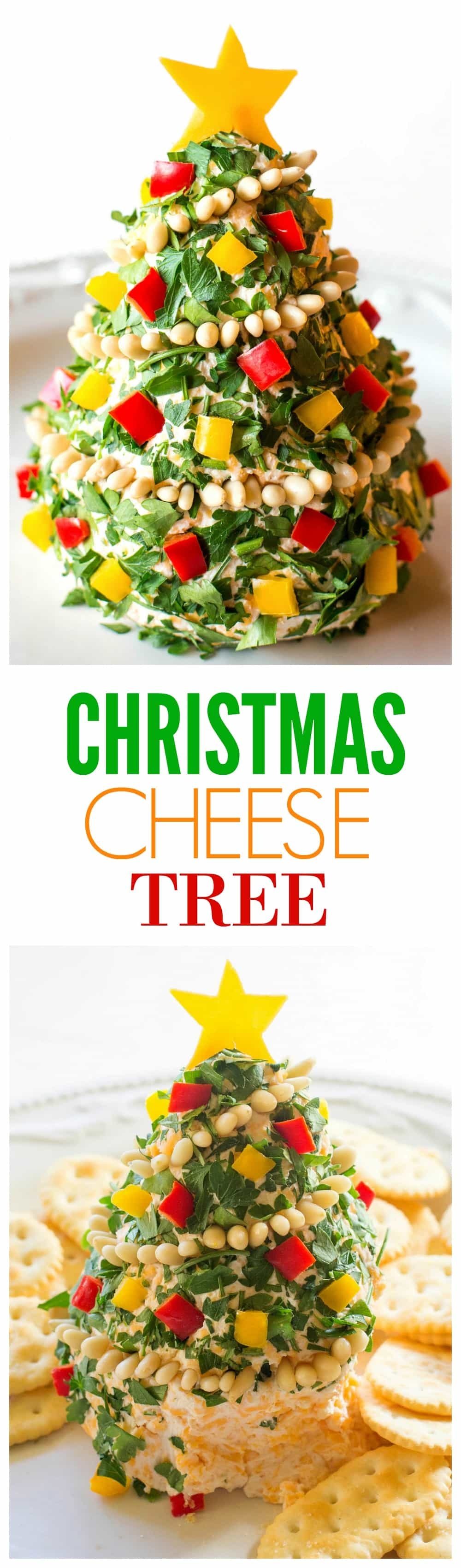 Christmas Cheese Tree - super simple yet impressive cheese ball shaped in a tree! the-girl-who-ate-everything.com