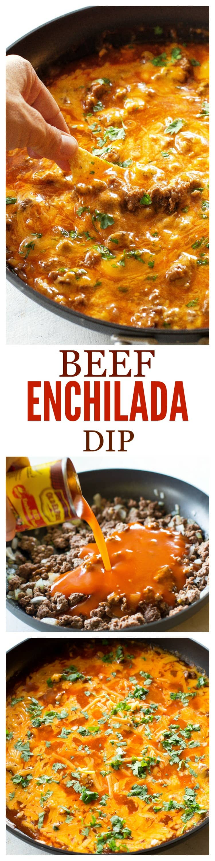 Beef Enchilada Dip - so easy! Always a crowd pleaser! #cincodemayo #beef #appetizer #mexican