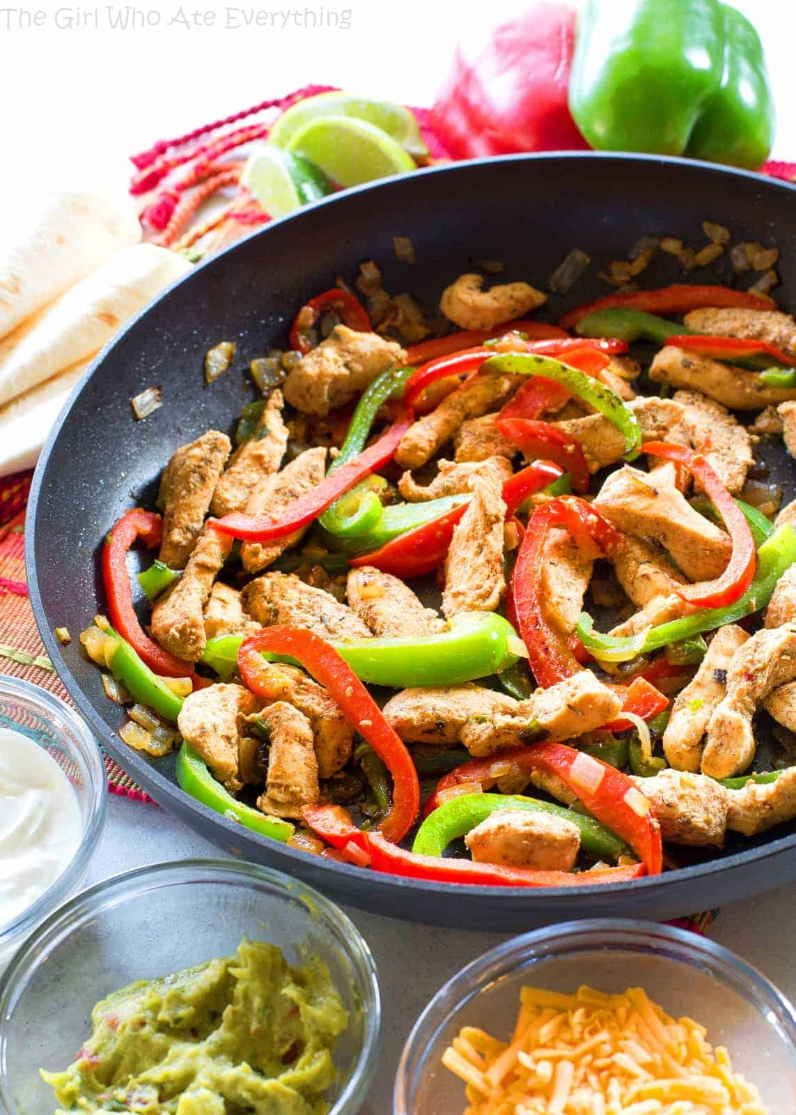 Classic Chicken Fajitas - full of flavor, easy, and just what you want when you're craving fajitas. the-girl-who-ate-everything.com
