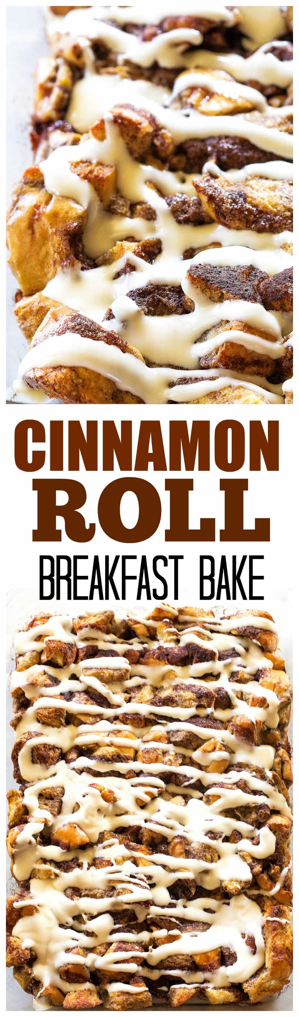 Cinnamon Roll Breakfast Bake - this is made from scratch, no canned cinnamon rolls. Who wouldn't want to wake up to this? #breakfast #casserole #cinnamon
