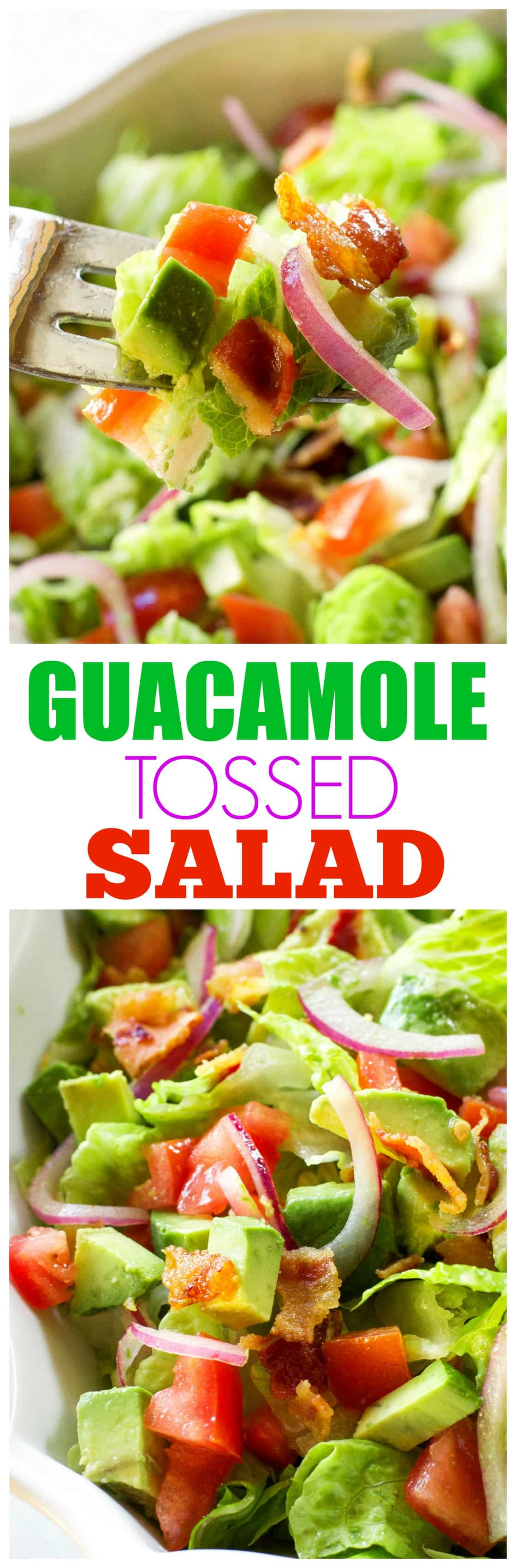 Guacamole Tossed Salad - I'm always looking for an easy salad to serve with my Mexican dishes and this is it! Honestly, you will lick the bowl. #guacamole #tossed #salad #mexican #recipe
