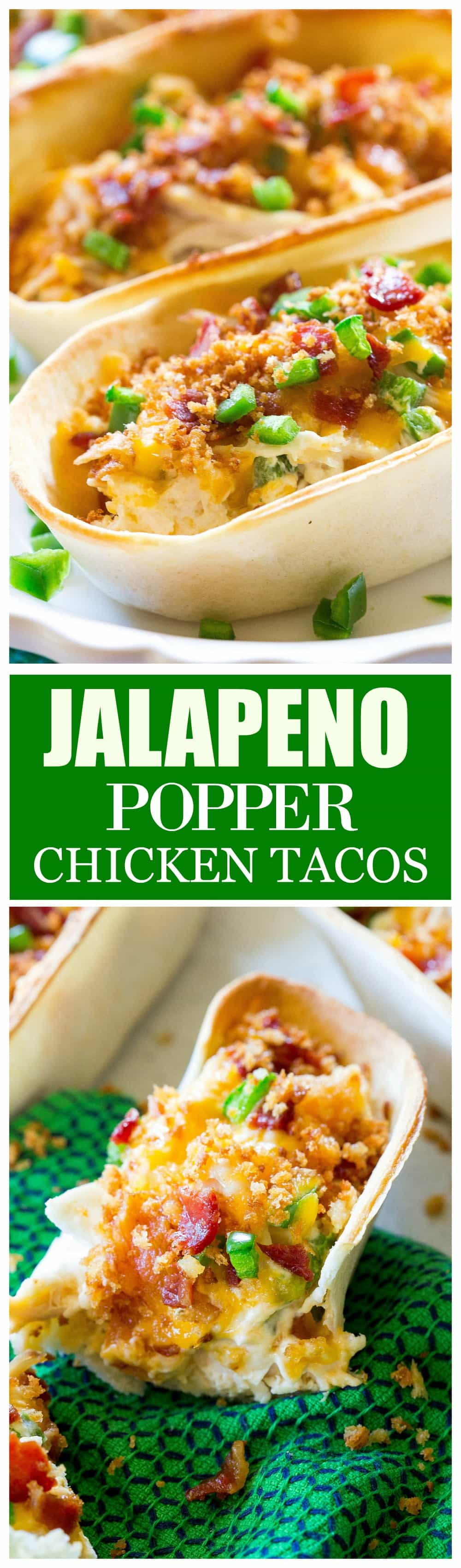 Jalapeno Popper Chicken Tacos - so good! Creamy, a little spicy, and with crunchy Panko topping on top! #jalapeno #popper #chicken #tacos #recipe #dinner #mexican