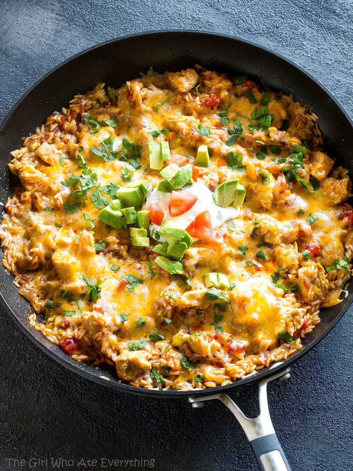 One Pan Mexican Chicken And Rice The Girl Who Ate Everything