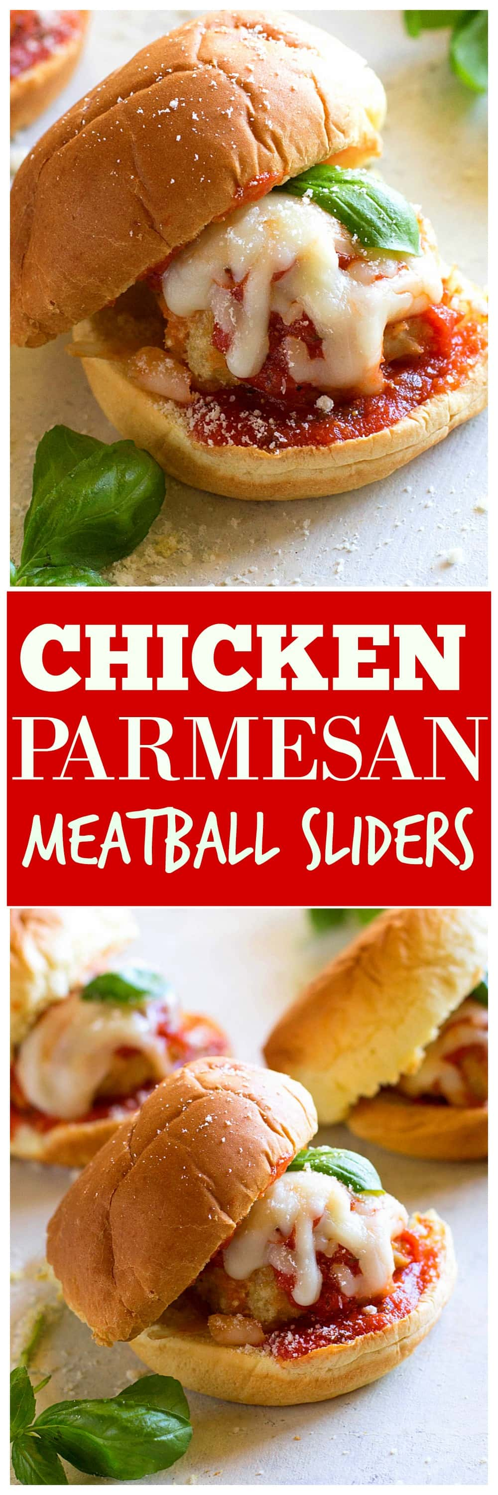 Chicken Parmesan Meatball Sliders - so easy and always a crowd pleaser. #chicken #parmesan #meatball #sliders #recipe