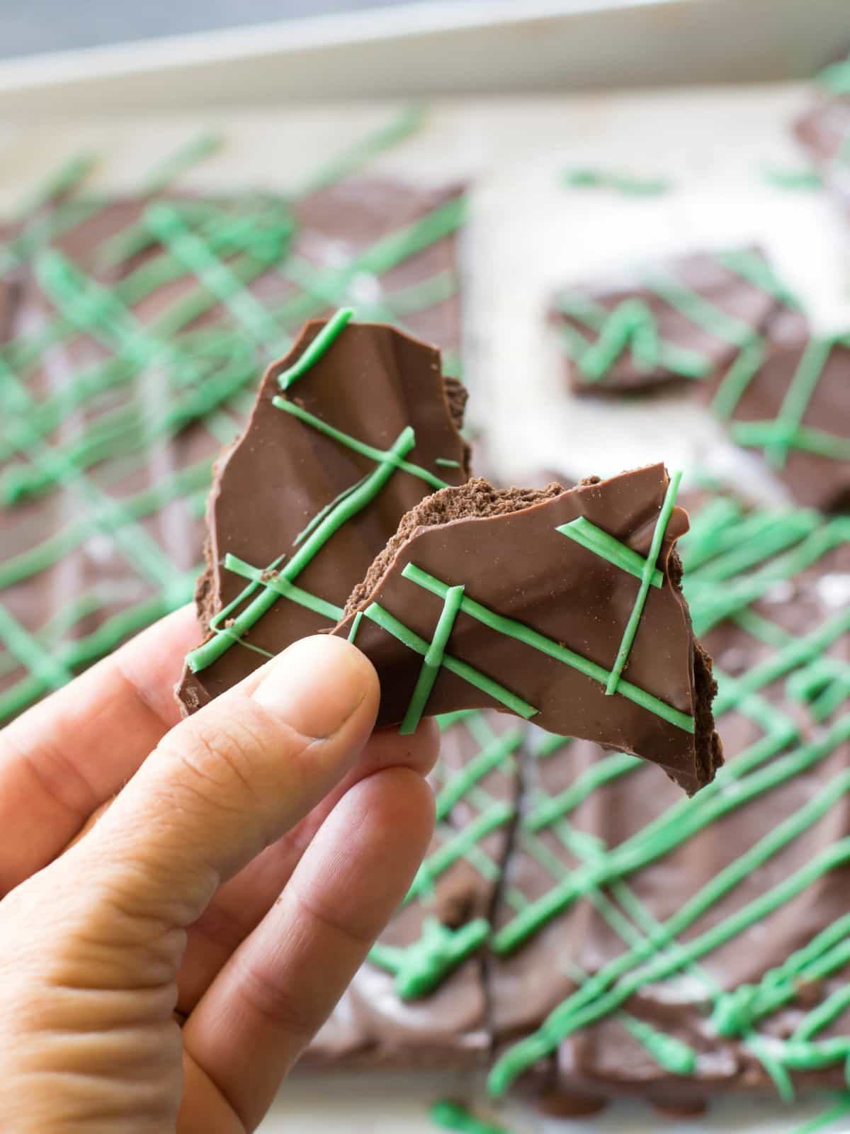This Chocolate Mint Bark tastes just like your favorite cookie but can be made in your own kitchen! the-girl-who-ate-everything.com