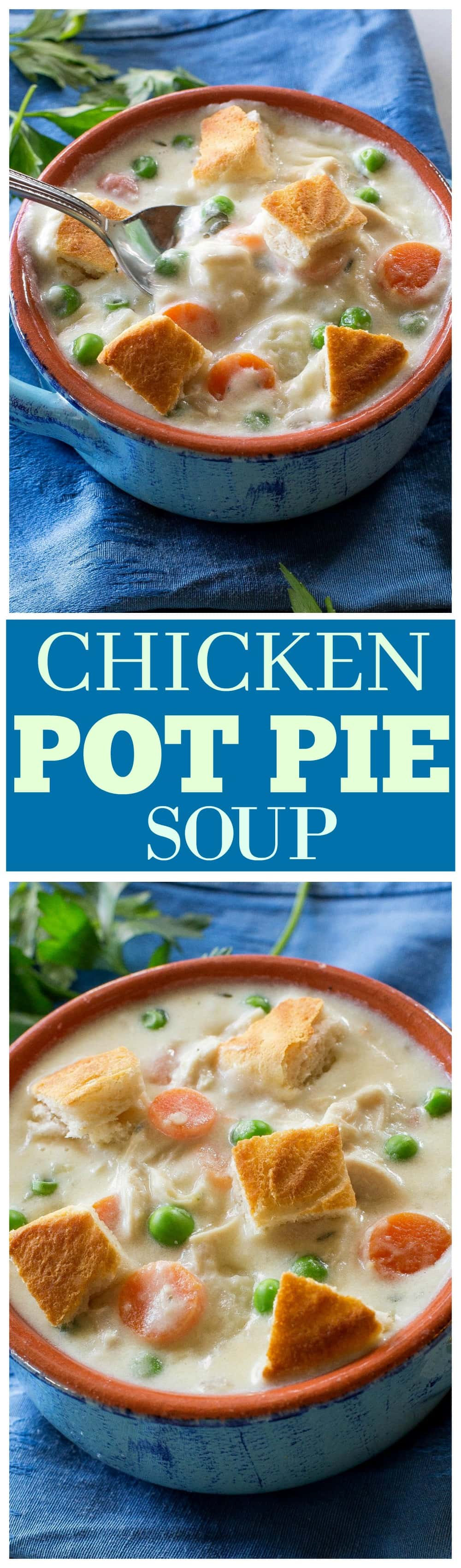 Chicken Pot Pie Soup - creamy pot pie soup with carrots, peas and potatoes. Seasoned to perfection! #chicken #pot #pie #soup #dinner #recipe