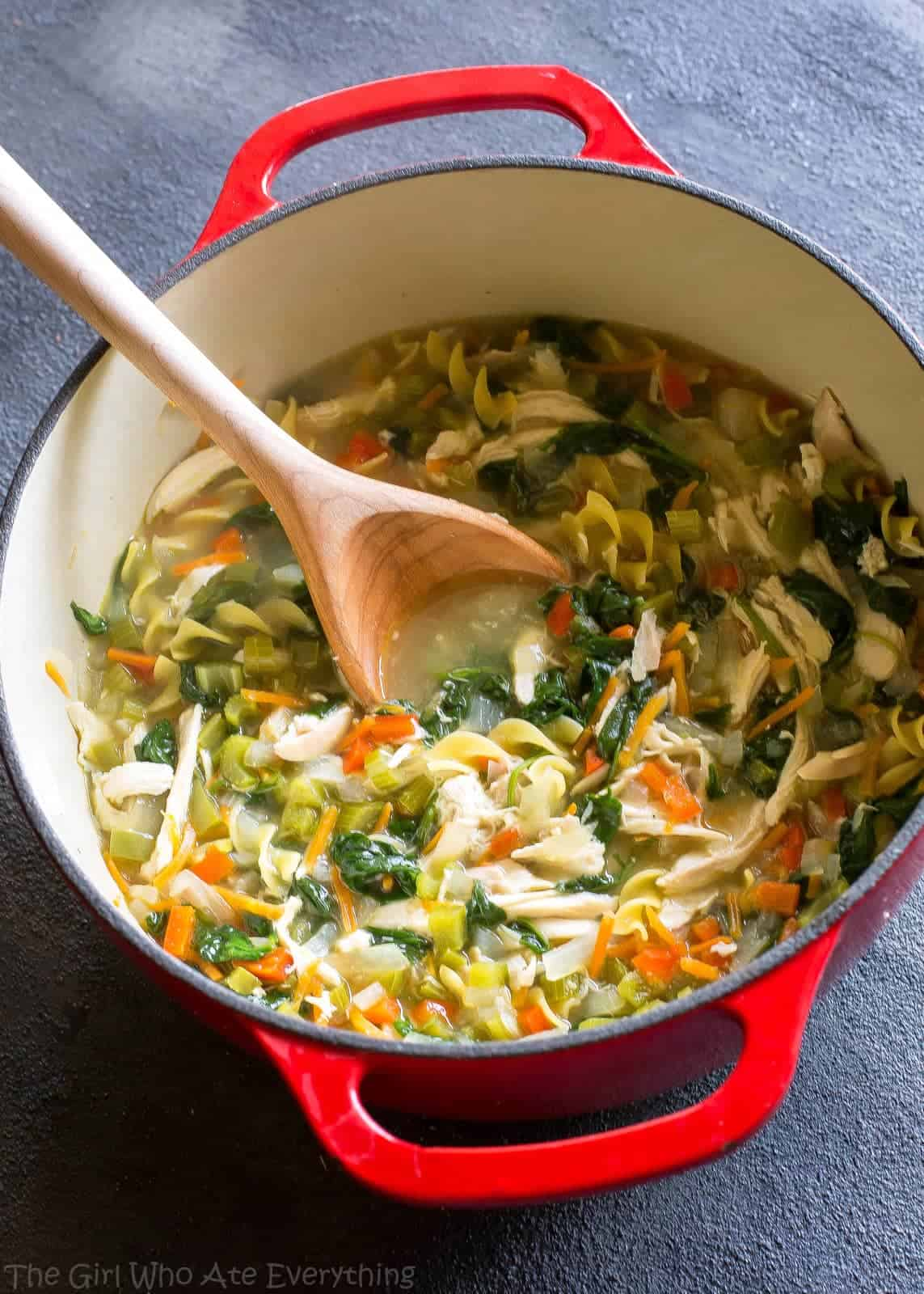 Healthy Vegetable Chicken Soup - this soup is FULL of veggies and great to detox when you need to eat healthy! the-girl-who-ate-everything.com